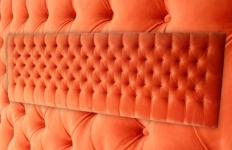 Custom Momo headboard, 2700mm wide, Mystere Tangerine